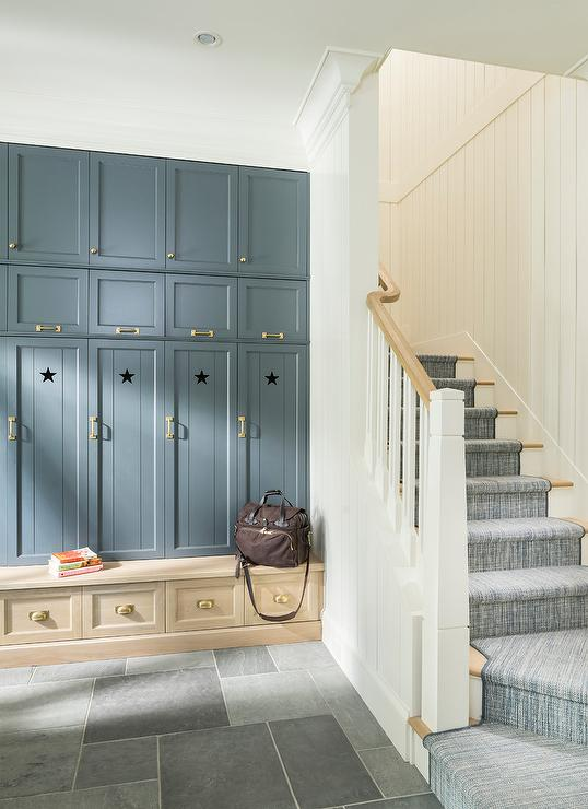 Sky Blue Mudroom Lockers With Overhead Cabinets