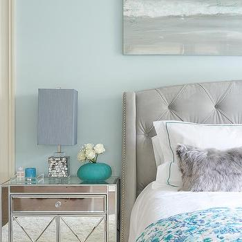 Yellow And Gray Bedroom With Blue And Gray Abstract Art