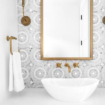 gray medallion mosaic bathroom wall