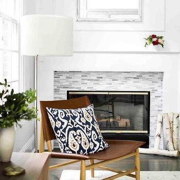 gray glass mosaic fireplace mantel tile