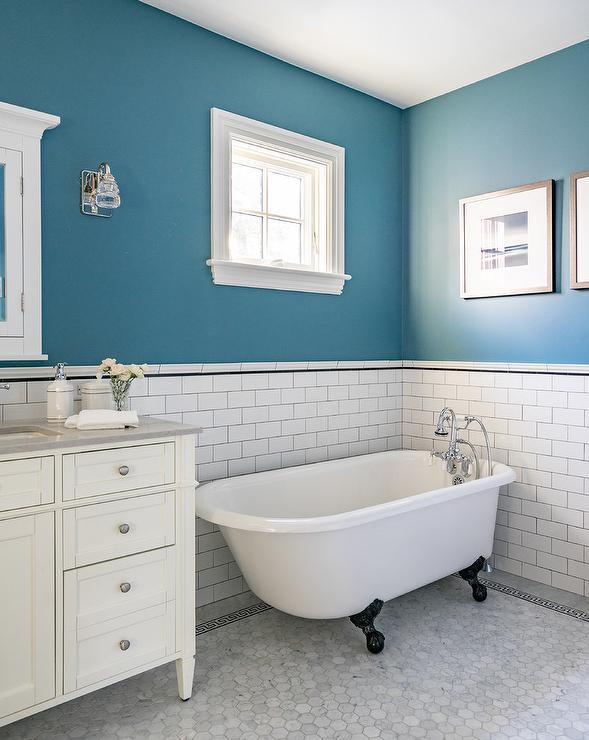 blue bathroom border tiles design ideas