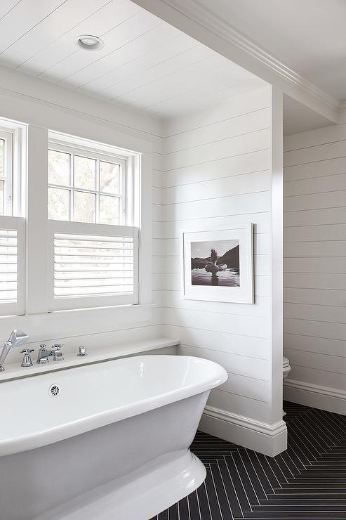 Black And White Kids Bathroom With Shiplap Trim Cottage