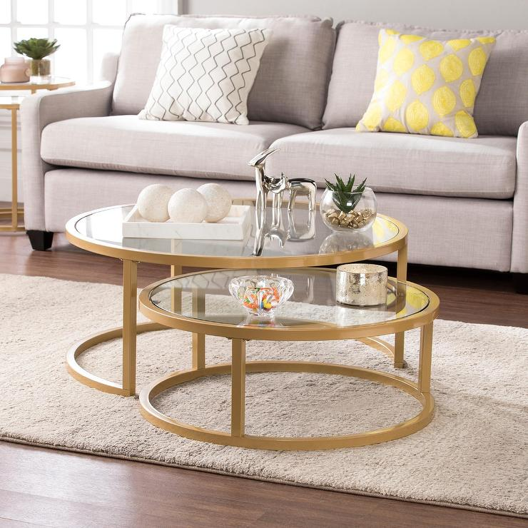 Gold Opaline Nesting Coffee Table