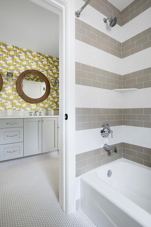 White Penny Tile Bathroom Floor With Light Gray Grout