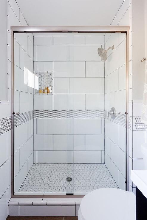 white honeycomb shower floor tiles