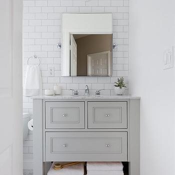 Small White Bathroom With Gray Marble Herringbone Floor