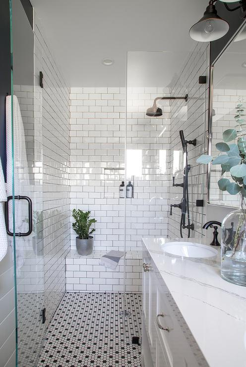 White Bathroom With Blue Glass Tile Backsplash Transitional Bathroom