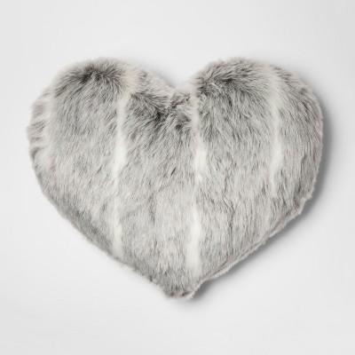 gray stripe oversize faux fur heart