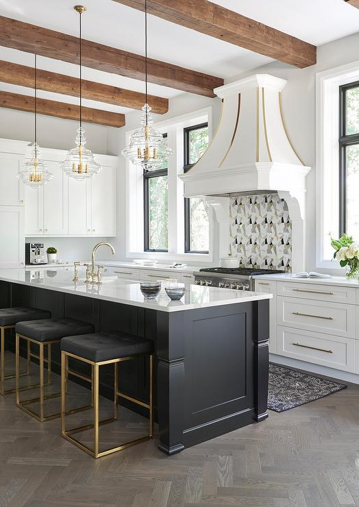 Island With Gray Leather Counter Stools With Nailhead Trim