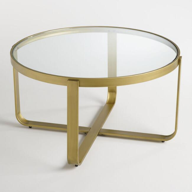ilene round glass brass coffee table