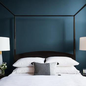 Deep Blue Painted Bedroom Walls Design Ideas