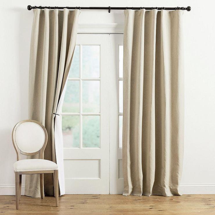 reversible beige white linen drapery panel