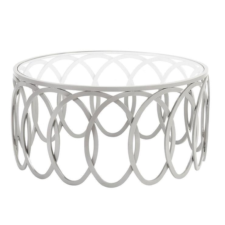 remy round glass silver loops coffee table