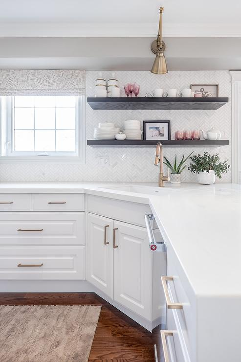 White and Gold KItchen with Stacked Wooden Floating ... on Corner Sconce Shelf Cabinet id=48582
