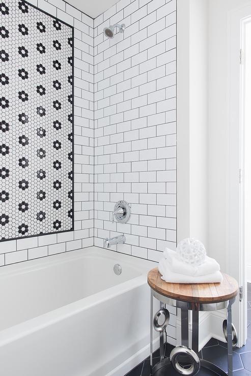 white hex tiles in flower pattern