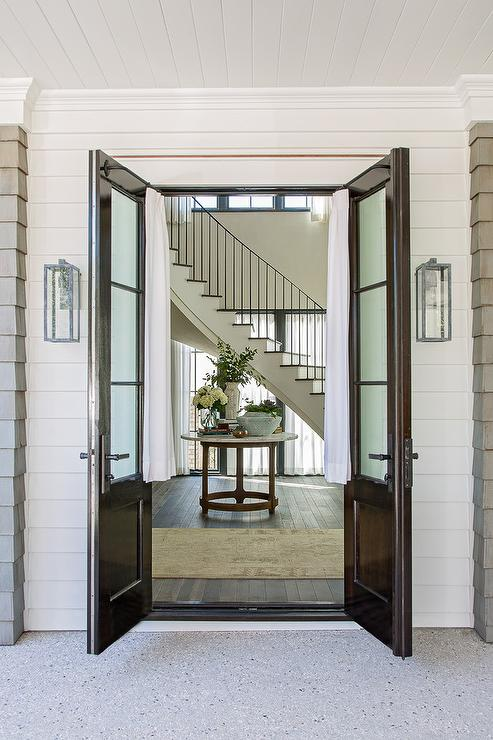 French Front Doors Entrance Foyer Benjamin Moore Grant