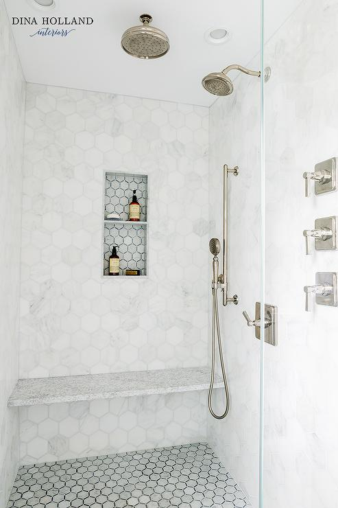 Walk In Shower With White And Gray Herringbone Tiles And