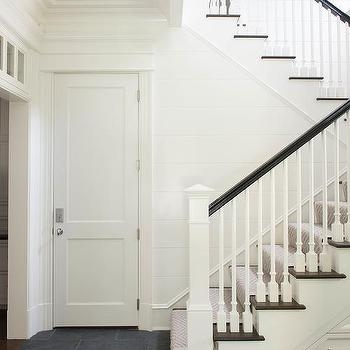White Staircase Post With Black Railing Design Ideas | Black And White Staircase Railing | Colour Combination | House | Indoor | 1920'S | Floors