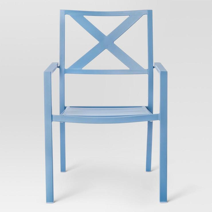 blue metal patio dining chair