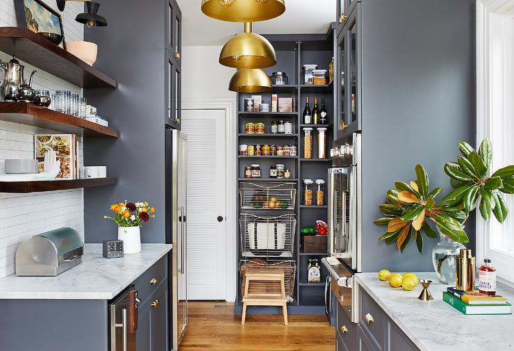 Dark Gray Pantry Cabinets With Brass Dome Lights Transitional Kitchen