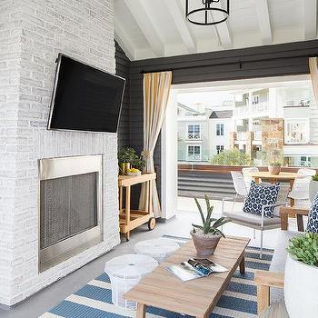 white painted brick patio walls design