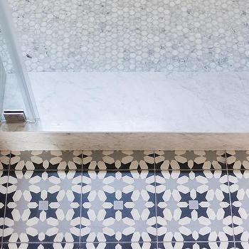 carrera marble hex shower floor tiles