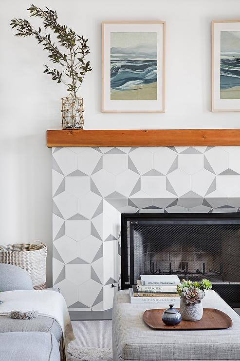 white and gray fireplace tiles design ideas