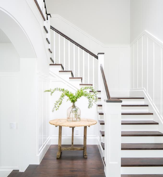 White And Brown Staircase Design Ideas   White And Wood Banister   Stairwell   Gray White   Contemporary   Classic Wood Stair   Colonial