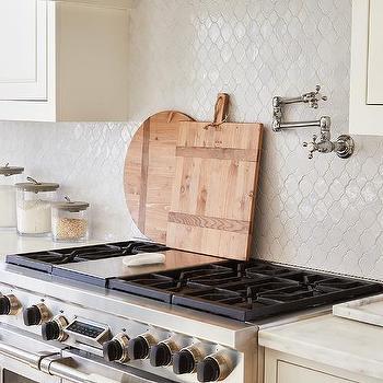 white glazed arabesque kitchen