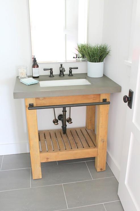 reclaimed wood sink vanity with