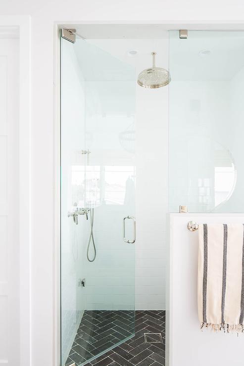 black herringbone pattern shower floor