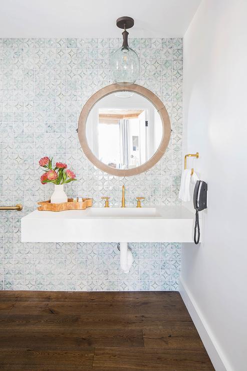 blue mosaic bathroom accent wall tiles