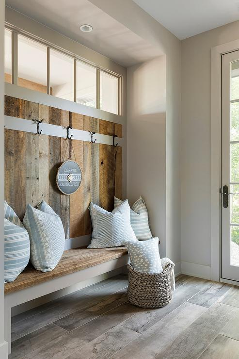 Barn Wood Mudroom Walls And Bench Transitional Laundry