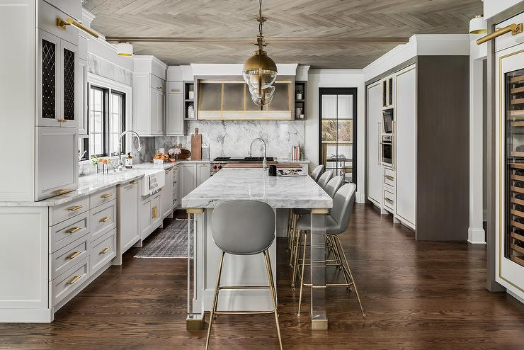 Gray And Gold Kitchen Design Transitional Kitchen
