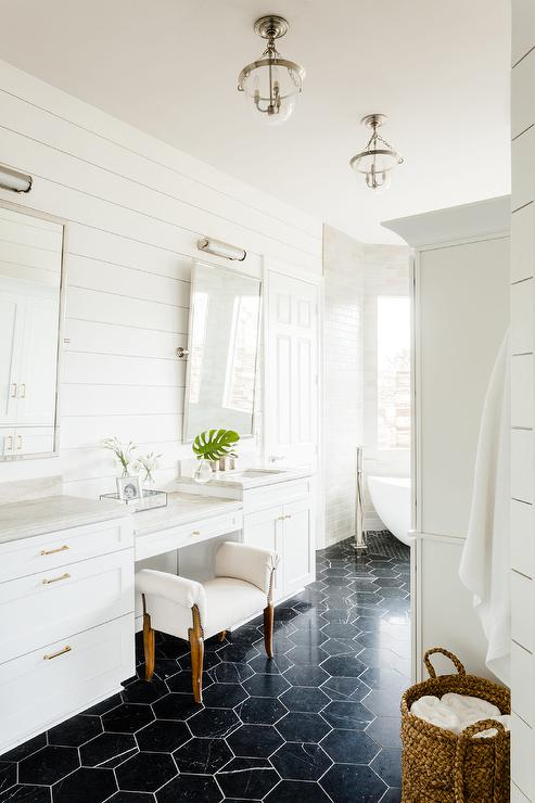 Rustic Wide Plank Wood Floors With White Bath Vanity