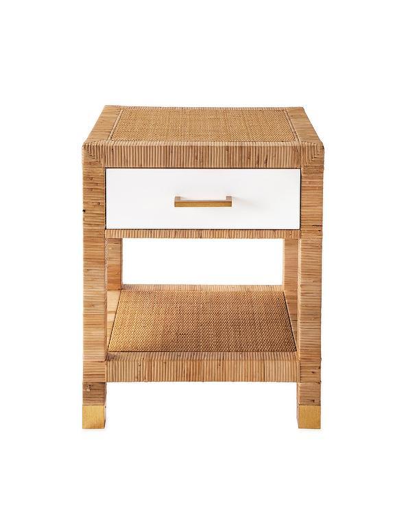 balboa square woven rattan white drawer