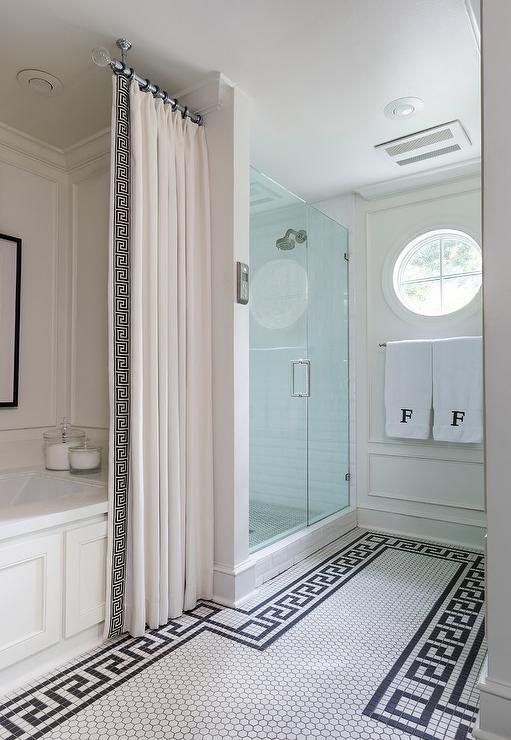 greek key shower curtain design ideas