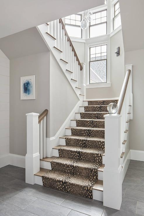 White Staircase Spindles Design Ideas   White Stairs With Grey Carpet   Top   Laminate Flooring Carpet   White Staircase   Grey Stripe   Dark Grey