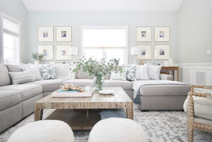 gray sectional with large square wood