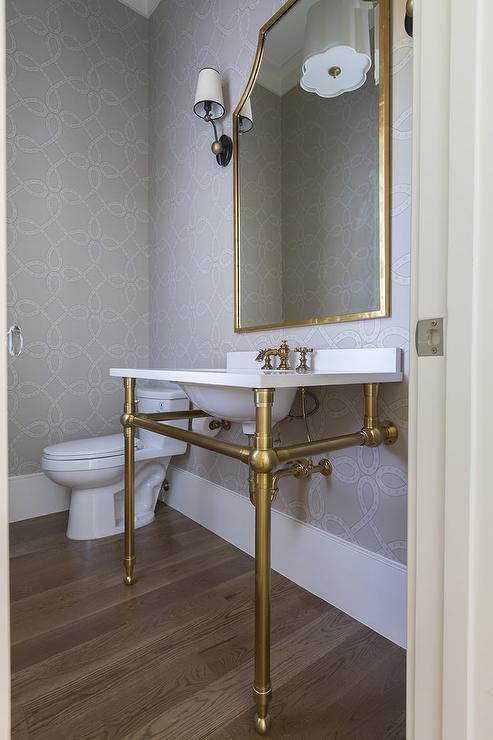 powder room sink vanity with brass legs