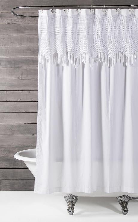 pom pom white chevron crochet shower