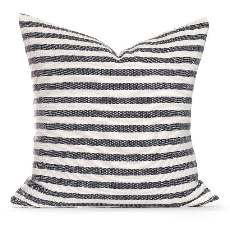 stela gray white striped cotton pillow
