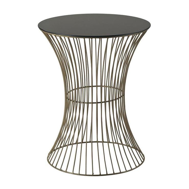 june round curved brass wire side table