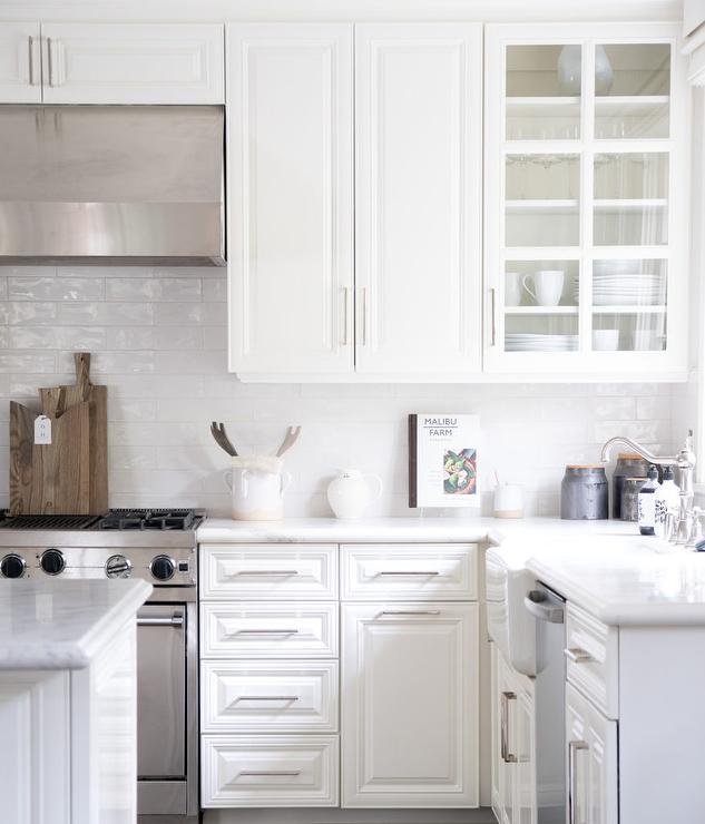 white glazed tiles in white kitchen