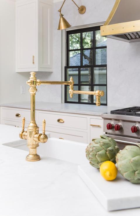 antique brass deck mount swing arm