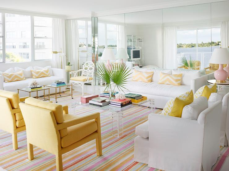 White And Yellow Living Room With Lucite Coffee Table Hollywood Regency Living Room