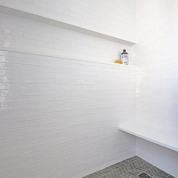 white brick walk in shower tiles design