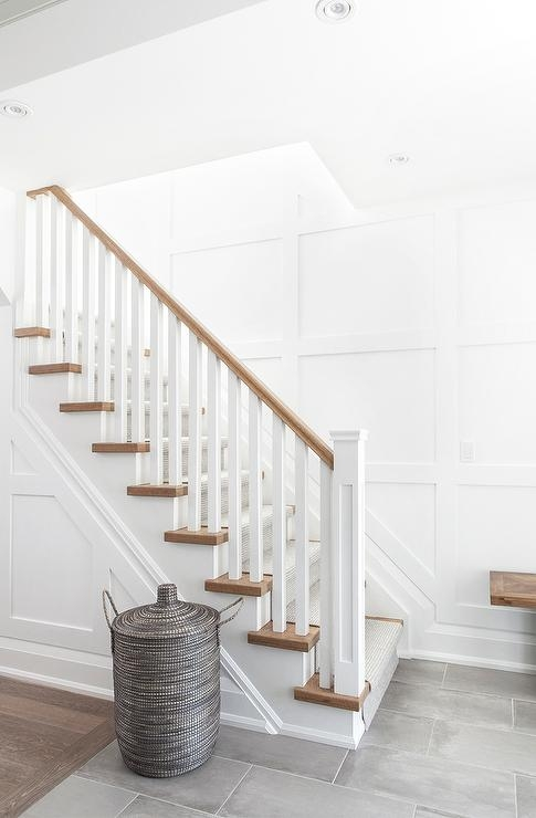 Two Tone Staircase Design Ideas | Two Tone Wood Stairs | Timber | Partially Carpeted | White Back | Diy | Rug
