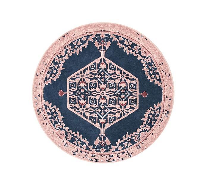 angelina round pink navy medallion rug