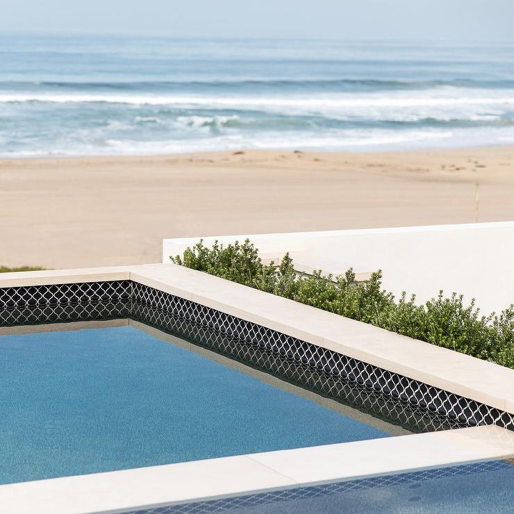 black moroccan trellis pool line tiles